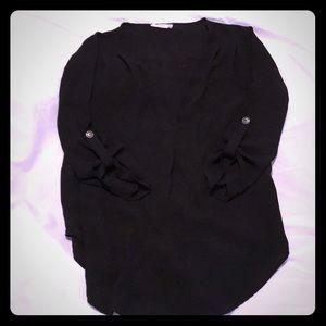 (S) Lush Black Polyester 3/4 sleeve